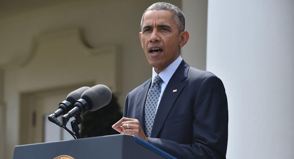 Presidente dos EUA Barack Obama faz declaração na Casa Branca após alcançar acordo sobre programa nuclear iraniano, em 2 de abril, 2015.