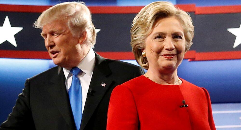 Donald Trump e Hillary Clinton participam do primeiro debate presidencial na Universidade de Hofstra, em Hempstead, Nova York