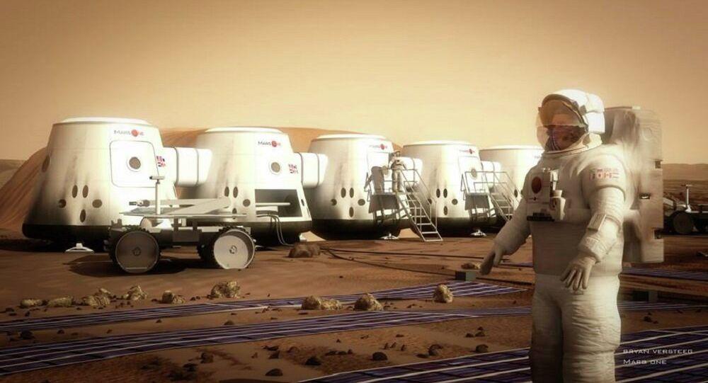 Ilustração mostrando projeto de base em Marte – Mars One