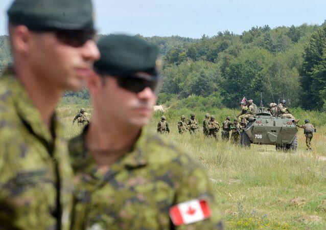 Instrutores militares canadenses observam exercícios militares ucranianos em Yavoriv, Ucrânia (arquivo)