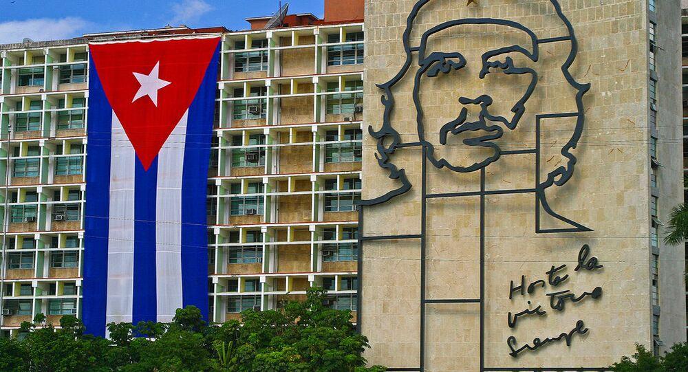 Bandeira nacional de Cuba em Havana