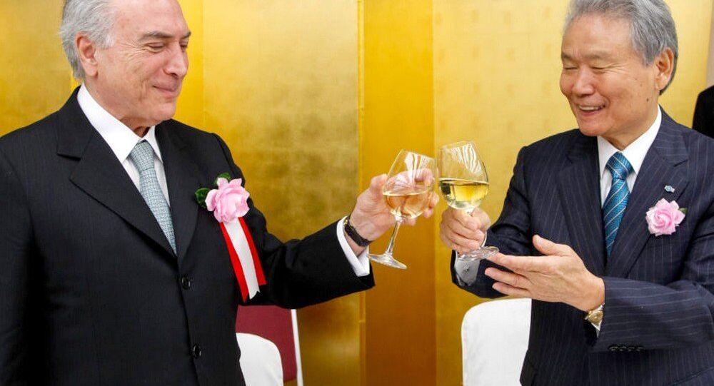 Michel Temer brinda em almoço com imperador do Japao Akihito