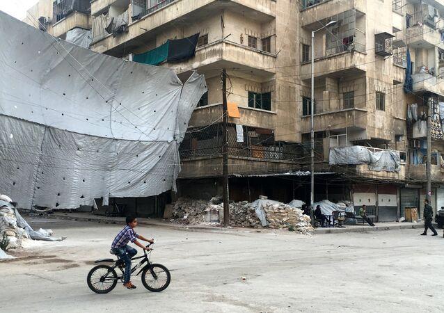 Bairro de Bustan al-Qasr onde começa corredor especial para militantes que entregaram as armas, Aleppo, 18 de outubro de 2016