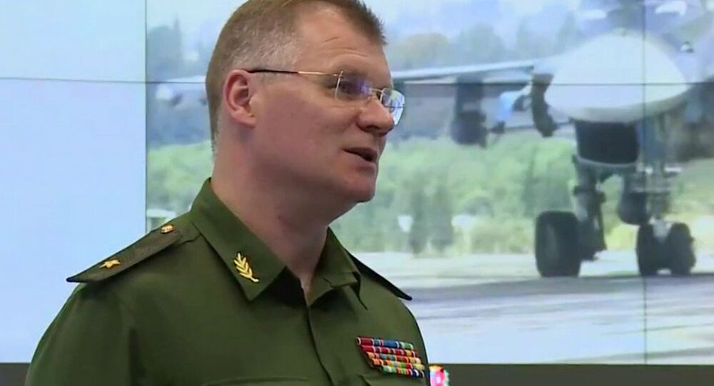 Representante oficial do Ministério da Defesa da Rússia, major-general Igor Konashenkov, durante uma entrevista coletiva sobre a situação na Síria, Rússia (foto de arquivo)