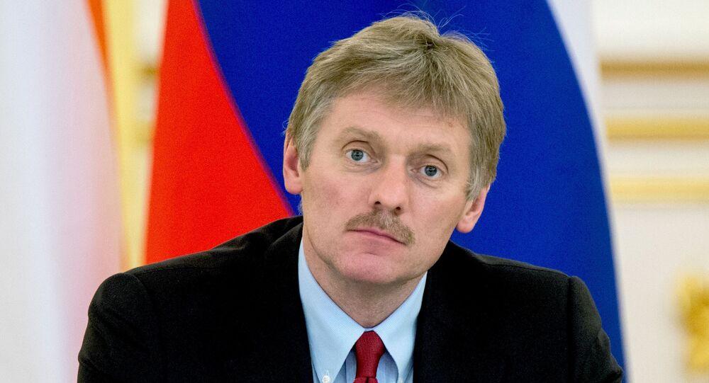 O porta-voz do presidente russo Dmitry Peskov no Kremlin