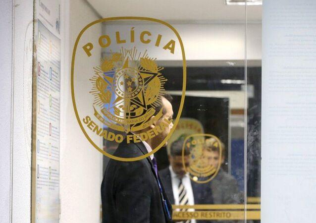 Polícia Federal durante a operação que prendeu os policiais-legislativos do Senado