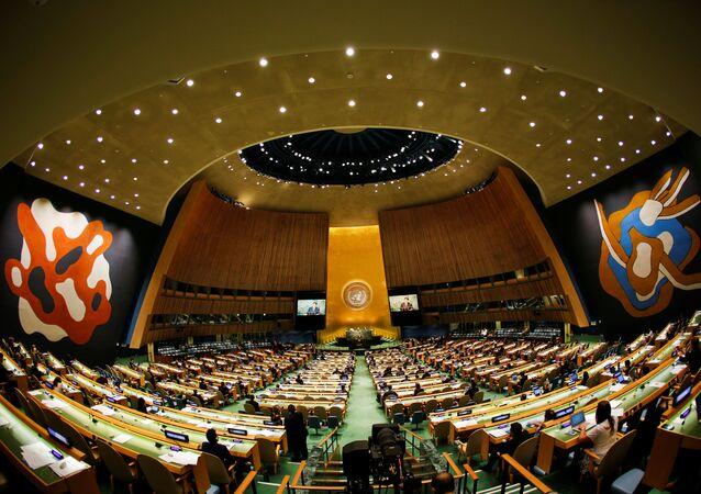 A sede da Assembleia Geral da ONU, no bairro de Manhattan, em Nova York