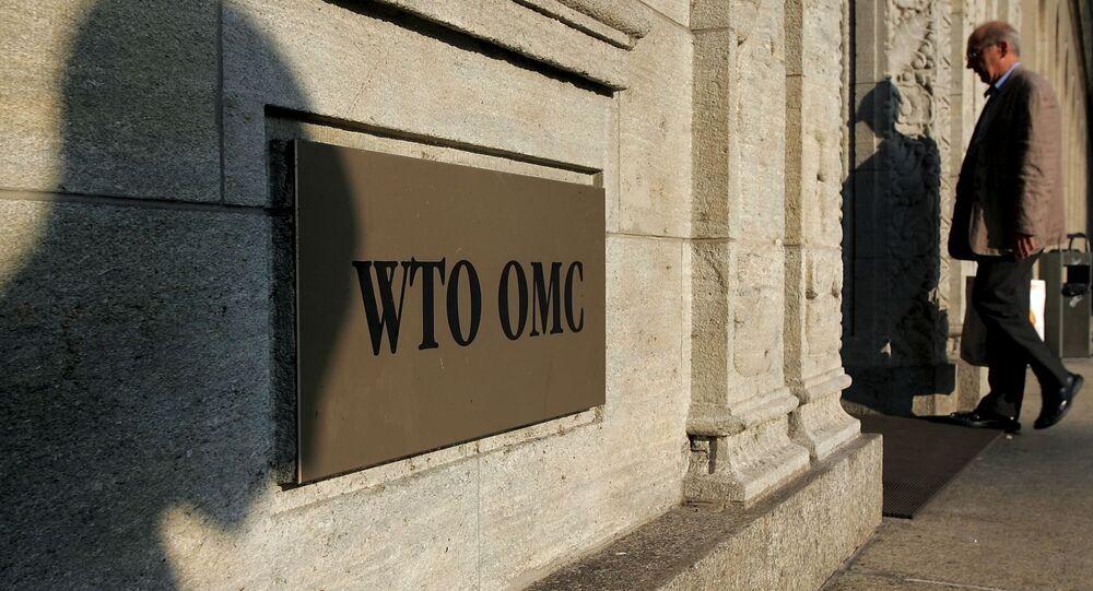 Entrada para a sede da OMC em Genebra, Suiça (foto de arquivo)