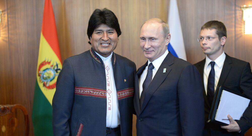 Vladimir Putin, durante visita oficial ao Brasil, se reuniu com Evo Morales (Arquivo)