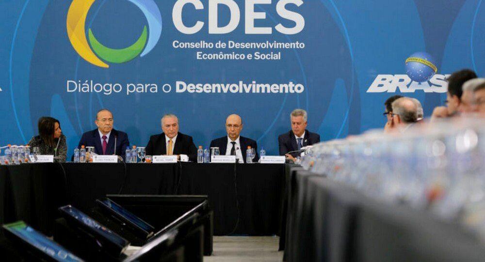 Temer durante reunião do Conselho de Desenvolvimento Econômico Social
