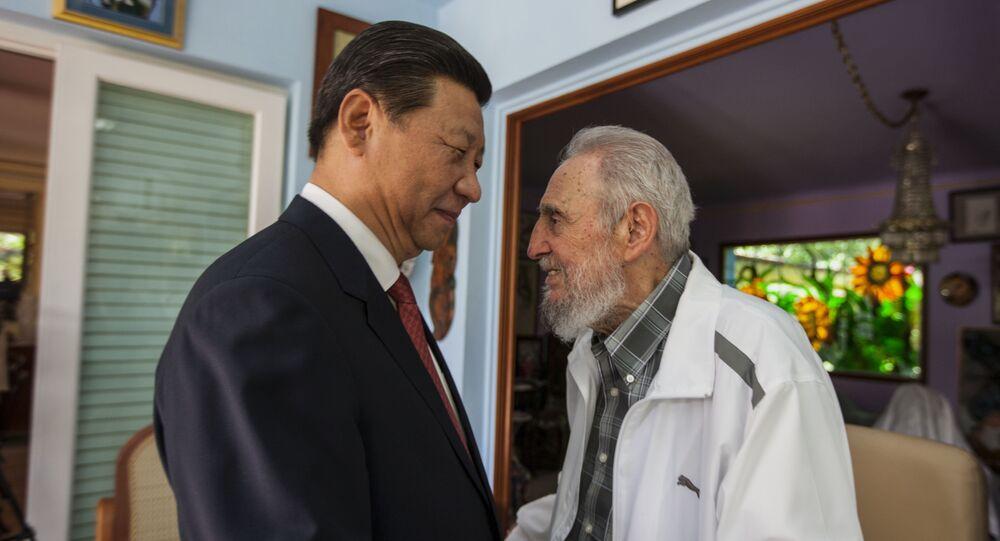 Fidel Castro com Xi Jinping, o presidente da China em Havana, Cuba, em 22 de julho, de 2014.