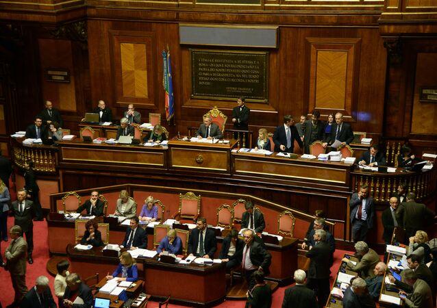 Sessão no Parlamento italiano