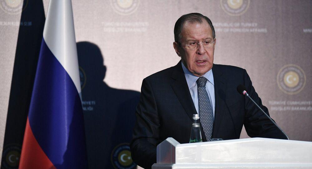 Ministro das Relações Exteriores da Rússia, Sergei Lavrov, durante uma coletiva de imprensa (arquivo)