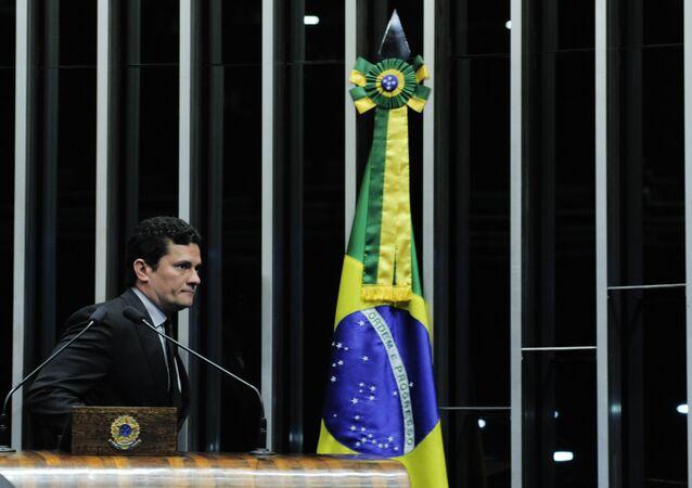 O juiz federal Sério Moro, durante segunda sessão de debates temáticos destinada a discutir o Projeto de Lei do Senado nº 280, de 2016, que define os crimes de abuso de autoridade