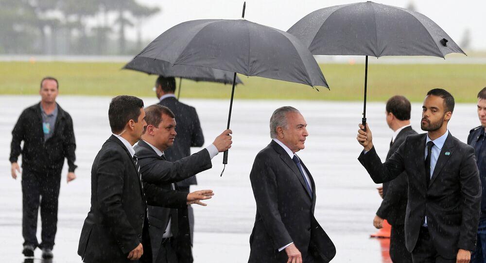 Presidente do Brasil, Michel Temer chega ao aeroporto de Chapecó
