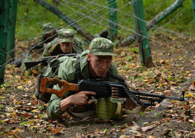 Os agentes secretos das tropas russa durante os exercícios realizados na região do Cáucaso