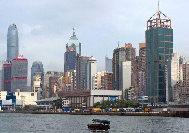 Uma vista de Hong Kong
