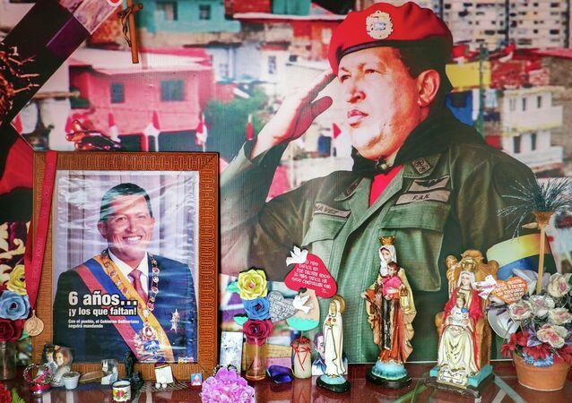 View inside Santo Hugo Chavez del 23 chapel, at 23 de Enero community in Caracas on February 27, 2015.
