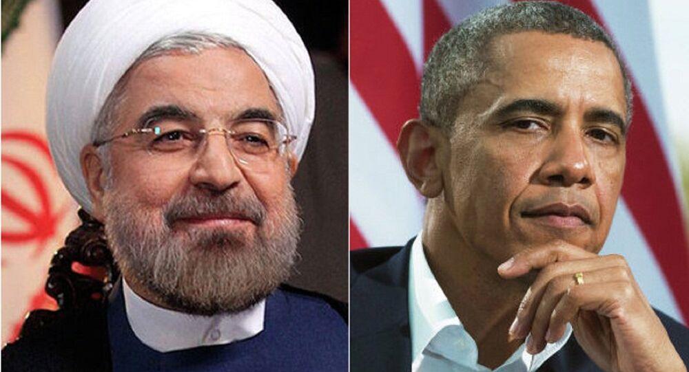 Presidente do Irã Hassan Rouhani e presidente dos EUA Barack Obama
