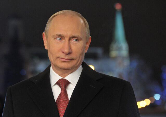Presidente russo, Vladimir Putin, em seu discurso de Ano Novo
