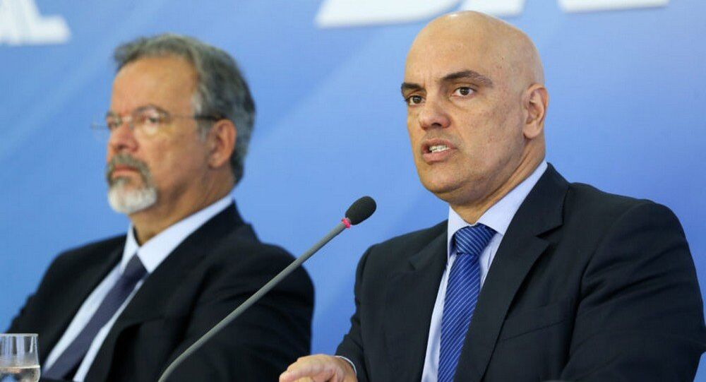Ministro da Defesa, Raul Jungmann e ministro da Justiça, Alexandre de Moraes, em coletiva sobre o Plano Nacional de Segurança
