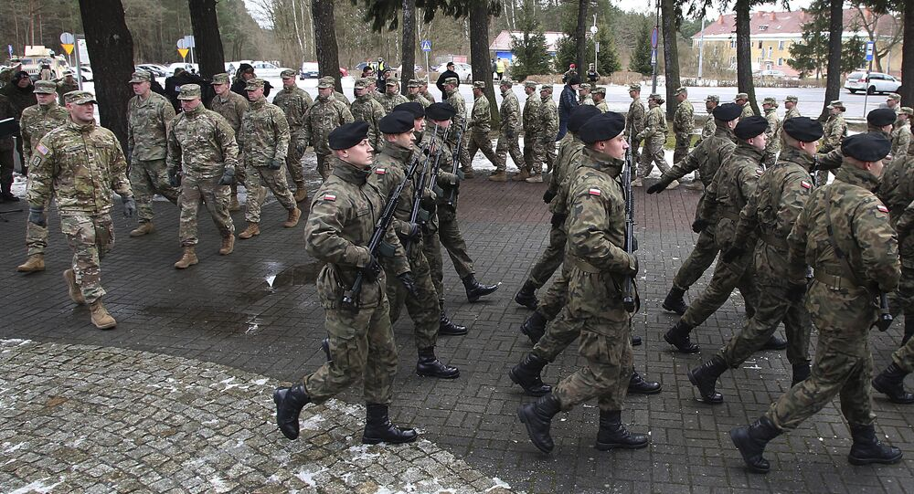 Cerimônia oficial de boas-vindas às tropas dos EUA em Zagan, Polônia, em 12 de janeiro de 2017
