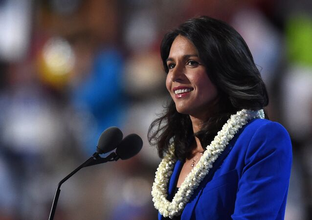US Representative Tulsi Gabbard speaks during Day 2 of the Democratic National Convention at the Wells Fargo Center in Philadelphia, Pennsylvania, July 26, 2016