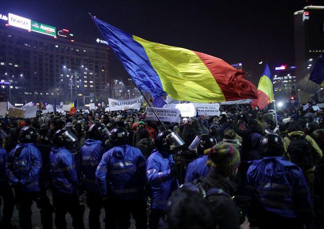 Manifestação em Bucareste, Romênia, em 1º de fevereiro de 2017