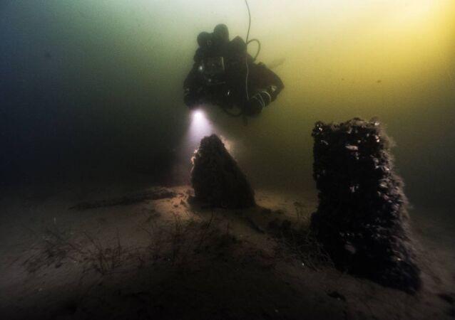 Restos do navio Blekinge, Porto Naval de Karlskrona, Suécia