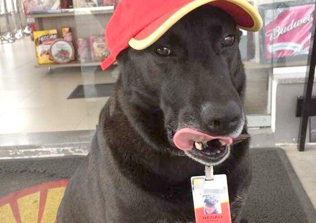 Negão fica sempre na porta da loja de conveniência dando atenção aos clientes