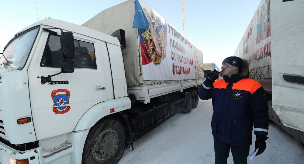 Trucks from the 11th Russian convoy that has delivered humanitarian aid to Donbas (Ukraine's southeastern regions) have returned to Russia