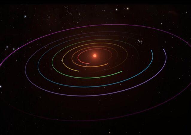 Imagem visualizada da estrela TRAPPIST-1