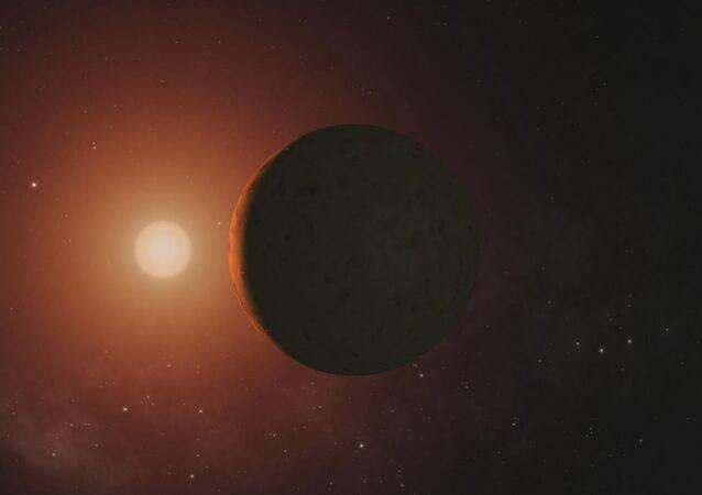 Visão artística dum planeta do sistema TRAPPIST-1