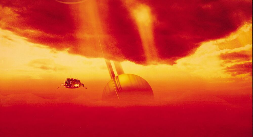 Visão artística da siperfície de Titã, satélite de Saturno