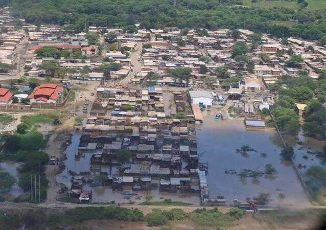Visão aérea da cidade de Piura, no norte do Peru, em 28 de março de 2017