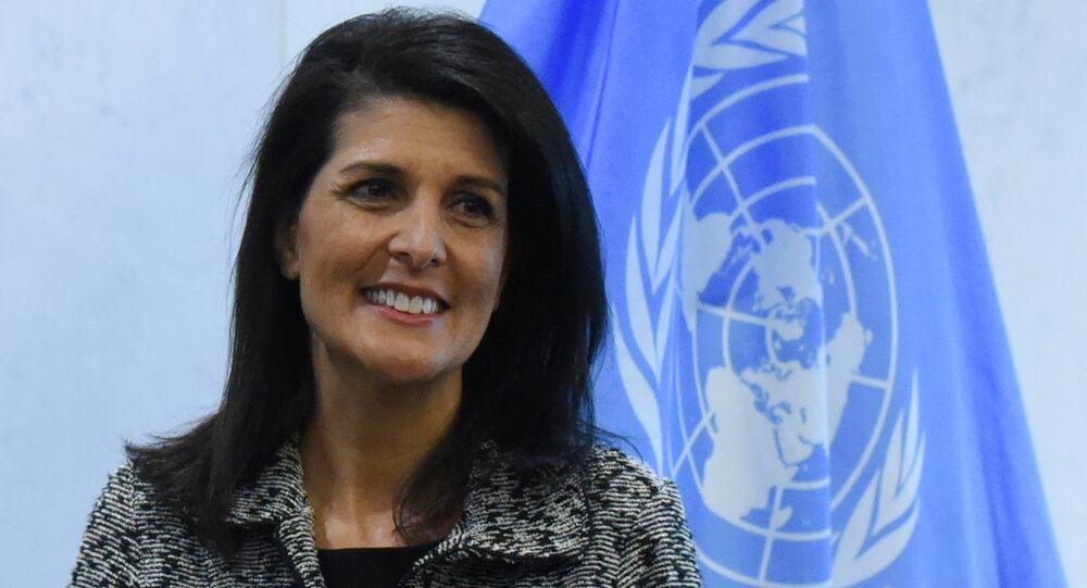 A representante permanente dos EUA junto à ONU Nikki Haley