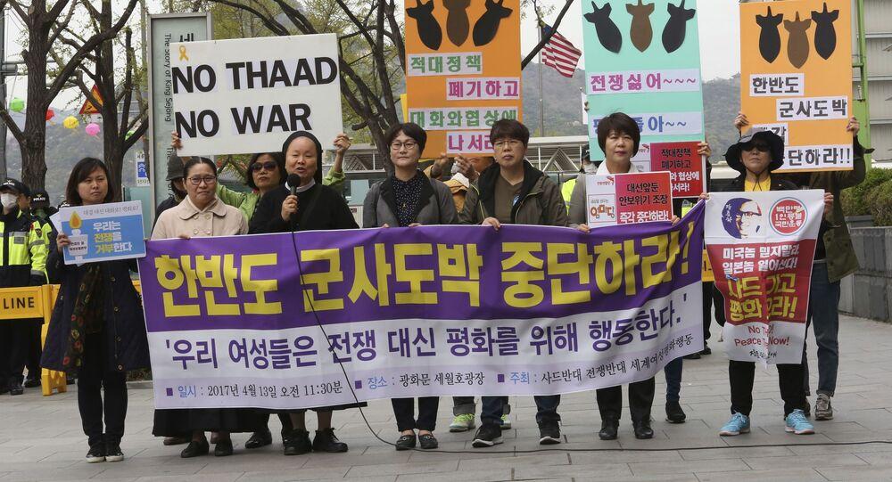 Protestos contra implementação do THAAD americano na Coreia do Sul, Seul, 13 de abril de 2017