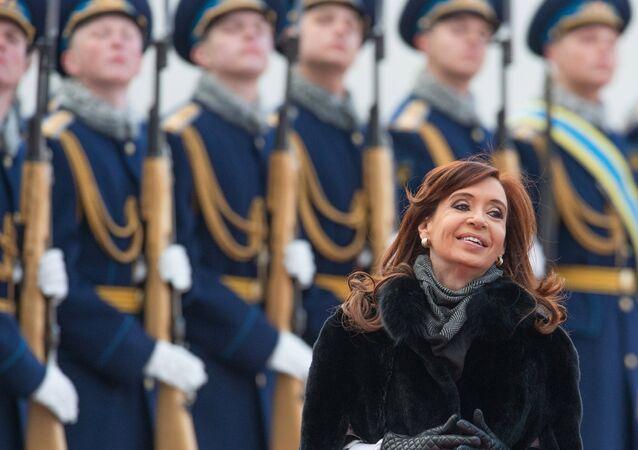 Presidente da Argentina, Cristina Fernández de Kirchner, chegou a Moscou em 21 de abril de 2015