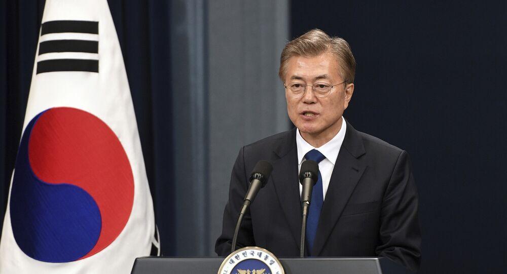 Presidente da Coreia do Sul, Moon Jae-in, durante coletiva de imprensa