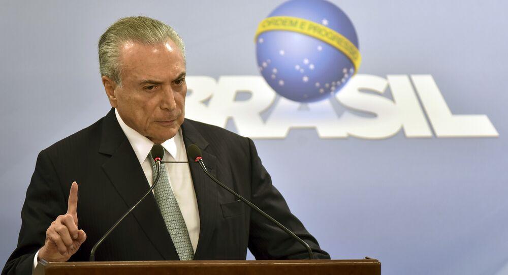 O presidente do Brasil, Michel Temer, fala no Palácio do Planalto em 18 de maio de 2017