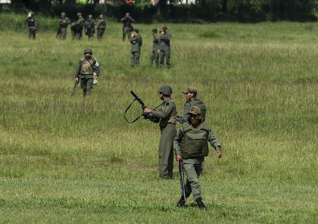 Militares na base área de Francisco de Miranda, Caracas, foto de arquivo