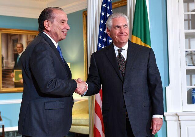 O secretário de Estado dos EUA, Rex Tillerson, e o ministro das Relações Exteriores do Brasil, Aloysio Nunes Ferreira.