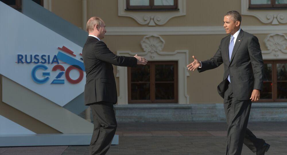 Os líderes da Rússia e dos EUA, Vladimir Putin e Barack Obama