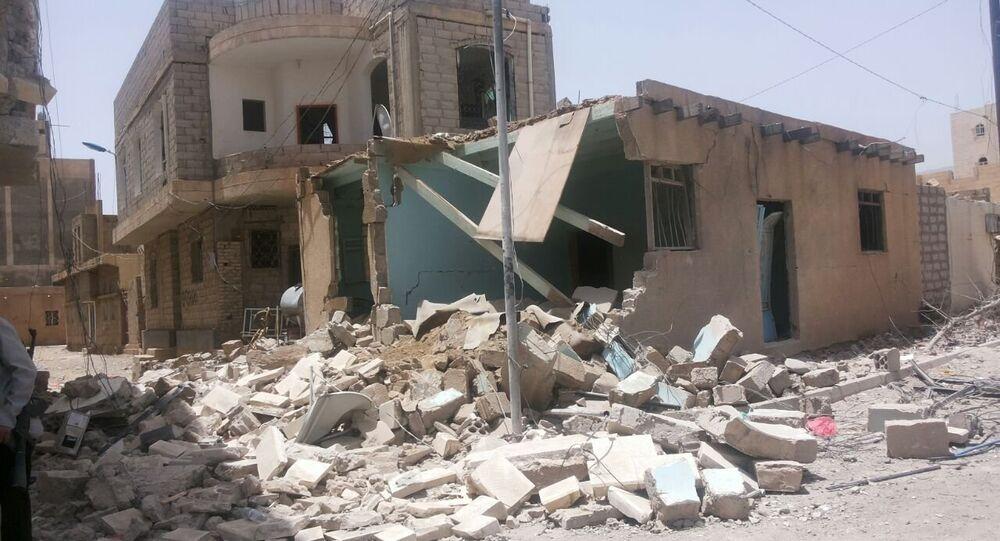 Consequências do bombardeio em Sanaa, capital do Iêmen