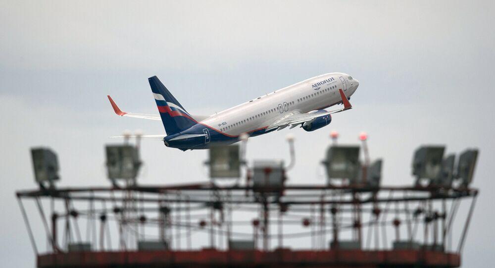 Aeroflot's Boeing 777 takes off at Sheremetyevo international airport.