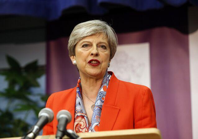 Theresa May, primeira-ministra do Reino Unido, durante discurso em Maidenhead, Inglaterra, em 9 de junho de 2017
