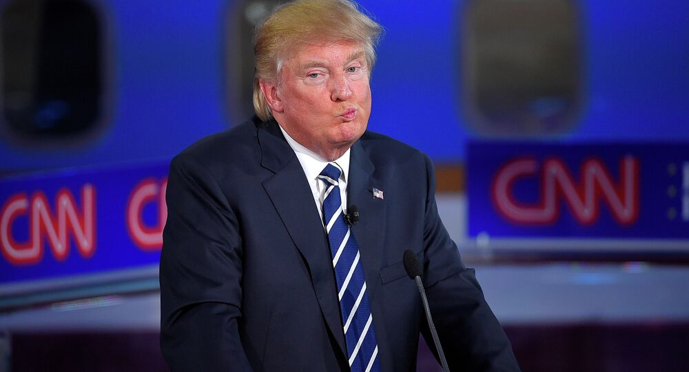Candidato republicano à presidência americana, Donald Trump, durante o debate organizado pela emissora CNN