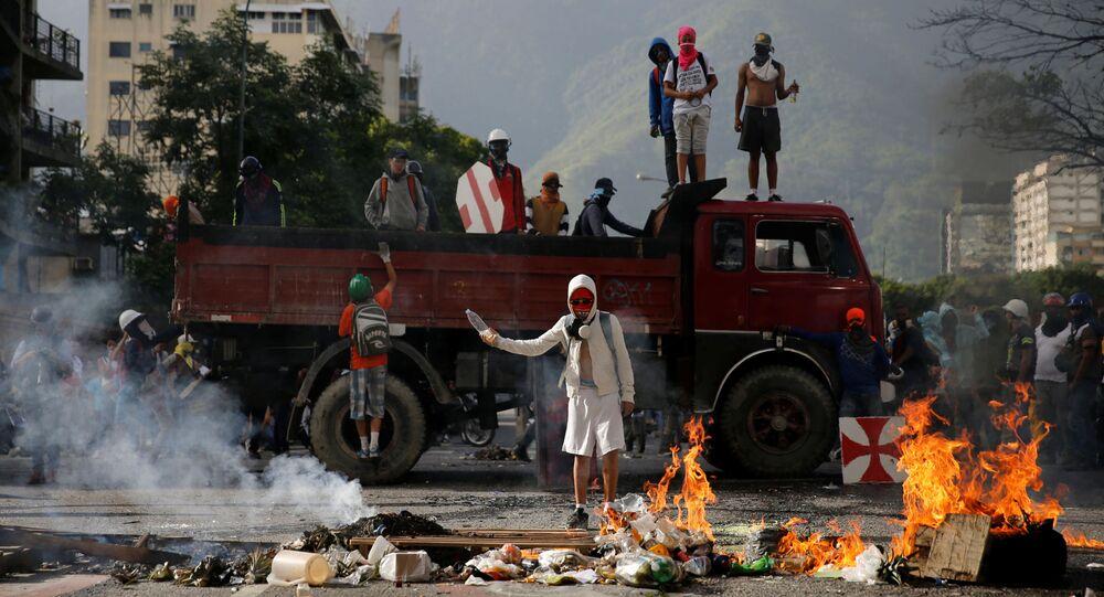Protestos antigovernamentais na capital venezuelana, Caracas
