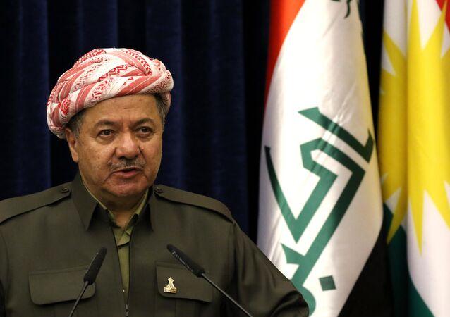 Presidente do Curdistão iraquiano, Massoud Barzani, durante uma coletiva de imprensa (arquivo)