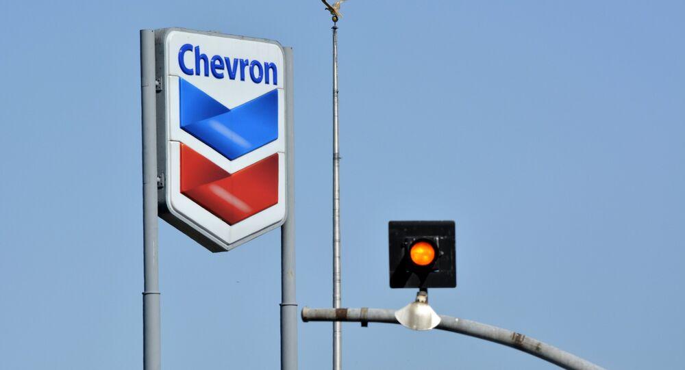 O emblema da empresa Chevron dos EUA